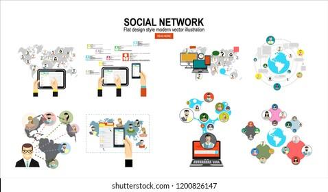 Global social network abstract scheme.Social media. Flat design modern vector illustration concept.