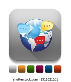 global social network icon With long shadow over app button
