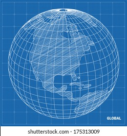 Global sphere blueprint. Vector illustration