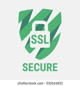 Global SSL Security Icon. Safe and Secure Web sites on the Internet. SSL certificate for the site. Advantage TLS. Closed padlock on a green shield. Material Design icon. Vector illustration.