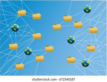 global storage network link diagram over a light blue background