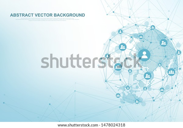 Global structure networking and data connection concept. Social network communication in the global computer networks. Internet technology. Business. Science. Vector illustration.