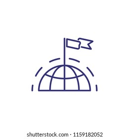 Global success line icon. Flag on northern hemisphere. International leadership concept. Can be used for topics like worldwide business, competition, achievement