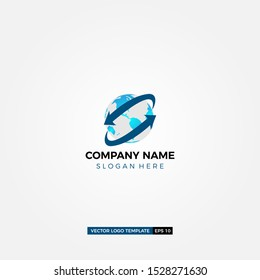 global supply company logo design with arrow and modern design vector template.