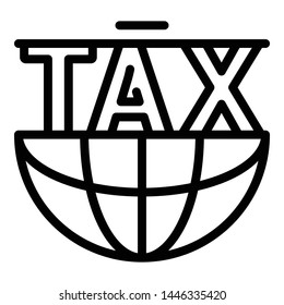 Global tax form icon. Outline global tax form vector icon for web design isolated on white background
