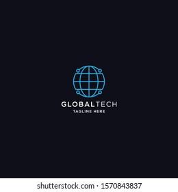 Global Tech Logo Icon Design Template Vector Illustration