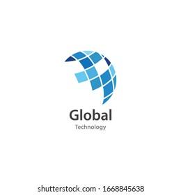 Global technology ilustration logo vector template
