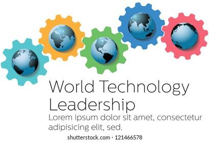 Global technology leadership gears as symbols of world