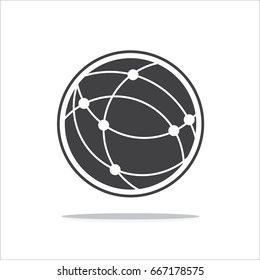 Global technology vector icon, Holding globe, social network vector icon.