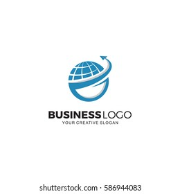 Global trade analysis logo, trading logo, finance logo, growing graph vector illustration