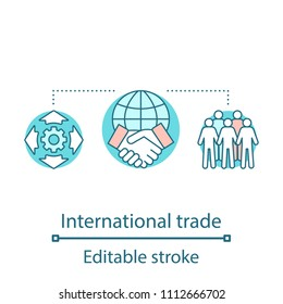 Global trade concept icon. International partnership. International relations and cooperation idea thin line illustration. Worldwide distribution. Vector isolated outline drawing. Editable stroke