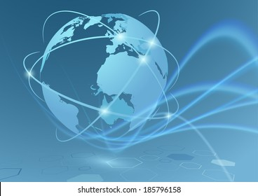 Global trade connections travel communication relations - earth globe with transparent swoosh waves abstract futuristic background. Vector illustration