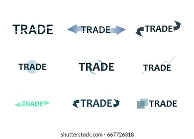 Global trade logo, trading logo, finance logo, growing graph vector illustration EPS10.  marketing,trade,success,deal,arrow,graph,global in a set of logo.