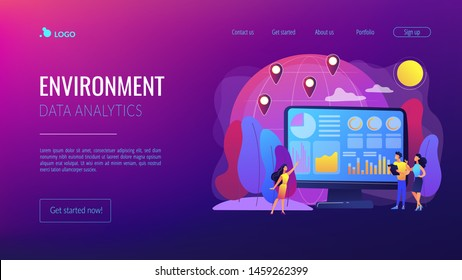 Global trading, stock market analysis. International commerce statistics analyzing, economic globalization. Environment data analytics concept. Website homepage landing web page template.