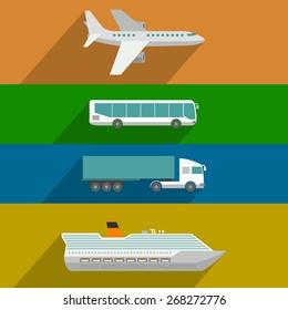 Global transportation. Plane, cruise liner, bus and truck icons. Flat design illustration
