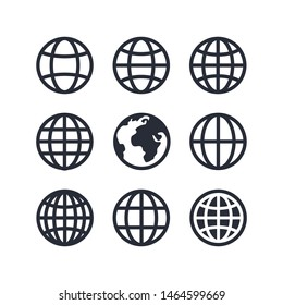 Global vector icon set, globe icon symbol set, Web icon set vector. website, homepage icon set, mobile app