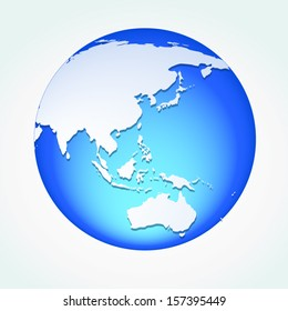 Global, Vector illustration of Global map in Oceania view.
