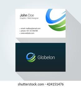 Global vector logo Corporate business card template