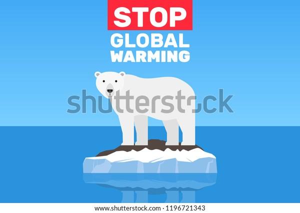 global warming change climate concept .polar bear on floe melting iceberg