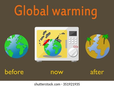 Global warming and climate change on Earth. Infographics vector illustration