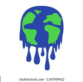 Global warming concept. earth melting. save the world. vector illustration