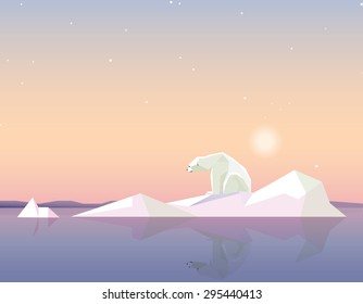 global warming concept vector illustration in polygonal geometric style with polar bear standing on the melting iceberg formation on sunset