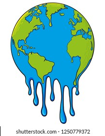Global Warming and Drought Concept Illustration with Melting of Earth