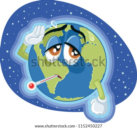 Global Warming Earth Concept Illustration. Planet earth going trough climate change due to greenhouse gasses