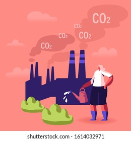 Global Warming, Environment Pollution, Global Heating Impact Concept. Woman Care of Green Plants Watering from Can against Factory Pipes Emitting CO2 Gas and Smoke. Cartoon Flat Vector Illustration