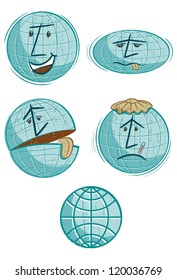 Global Warming Globes. Four cartoon faces drawn in a vintage style for stories on global warming and how it�s affecting the planet.