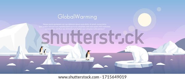 Global warming ice landscape vector illustration. Cartoon flat penguins group and polar bear floating on iceberg of melting arctic or antarctic glacier in north sea. Global warming concept background