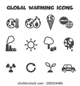 global warming icons, mono vector symbols