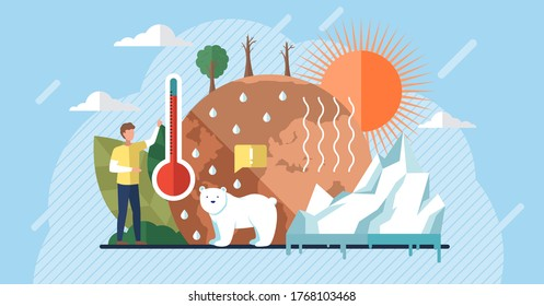 Global warming illustration, environment pollution, global warming heating impact concept. Change climate concept. Vector with tiny people and floral elements. World Environment Day, sun ecology