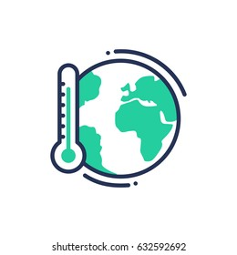 Global warming - modern vector single line icon. An image of a an earth with thermometer, save the planet. Representation of future, concern, warning.