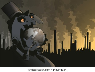 Global Warming Monster. Conceptual illustration about global warming.