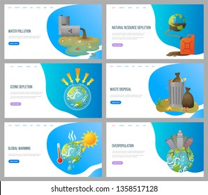Global warming vector, environmental problems and ozone depletion, issues with plant, overpopulation and waste disposal, cans with trash. Website landing page flat style. Concept for Earth day