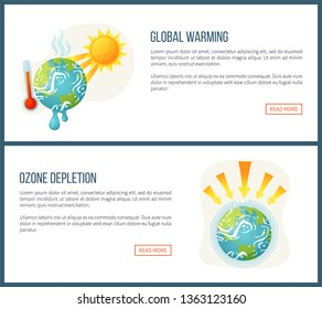Global warming vector, environmental problems and issues on planet, sunshine and thermometer, ozone depletion, heat and arrows attack set. Website landing page flat style. Concept for Earth day