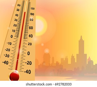Global warming.Vector illustration on the theme heat waves Can be used as poster, banner, sticker, fly er or background.There is industrial landscape of city coast for  colored design.Cityscape.