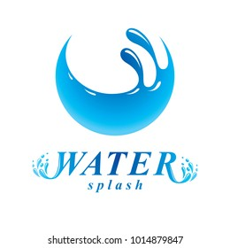 Global water circulation vector sign for use as business emblem in spa and resort organizations. Human and nature coexistence concept.