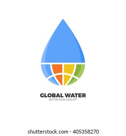 Global Water minimalistic logo concept. This logo is ideal for team logo shirts, cleaning services, dry clean, dry cleaners, water treatment system, purified water, mineral water.