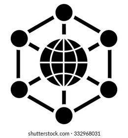 Global Web vector icon. Style is flat symbol, black color, rounded angles, white background.