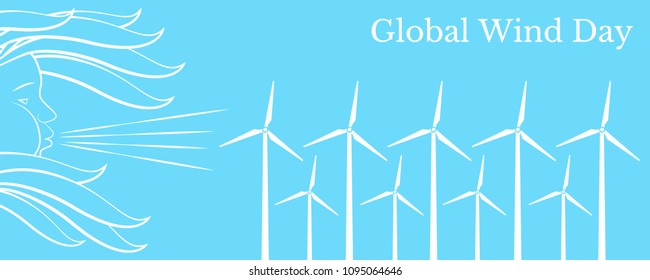 Global Wind Day. Concept of ecological holiday. 15 June. Wind symbol - face in profile, blowing, hair fluttering. Wind Turbines. Horizontal orientation