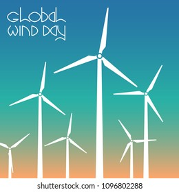 Global Wind Day. Concept of ecological holiday. 15 June. Wind turbines against the background of the sky