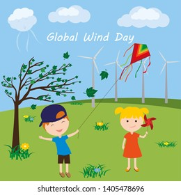 Global Wind Day. Little boy launches a kite. Little girl is holding a pinwheel.