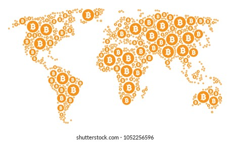 Global world atlas collage constructed of bitcoin coin icons. Vector bitcoin coin pictograms are composed into mosaic earth pattern.