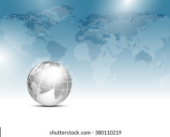 Global world map background blue with silver gray globe - worldwide business template