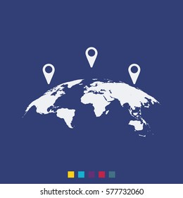 Global world map with geo location pins vector icon. Simple flat location pictogram.