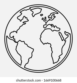 Global world map line black and white vector icon.