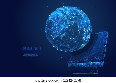 Global world. Networking concept on computer monitor screen. Vector low poly wireframe in the form of starry sky or space, consisting of points, lines, and shapes in the form of stars.