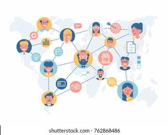Global worldwide business team workflow vector concept design. Social media worldwide illustration